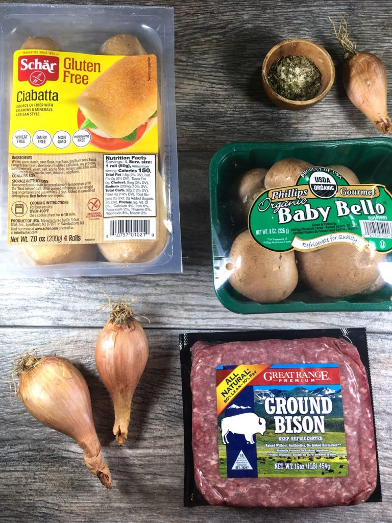 Ground Bison, Baby Bello Mushrooms, Shallots, Seasoning, Schär Gluten-Free Ciabatta Bread