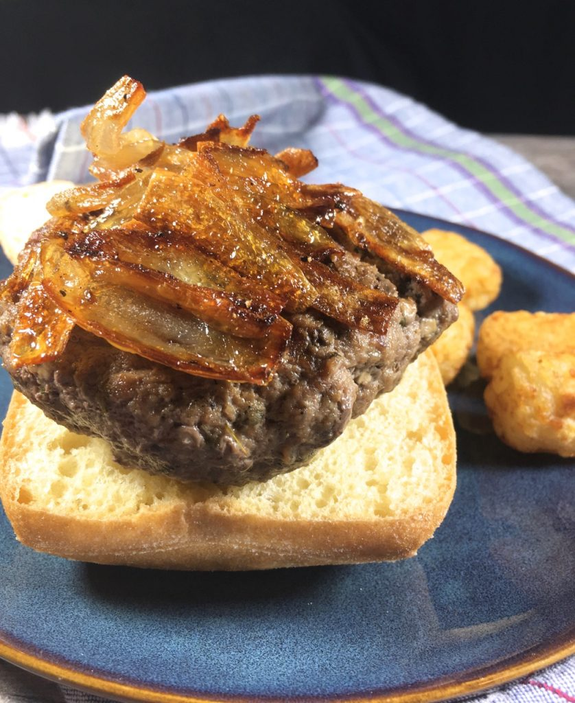 Bison Mushroom Burgers, Crispy Fried Shallots, Schär Gluten-Free Ciabatta Bread