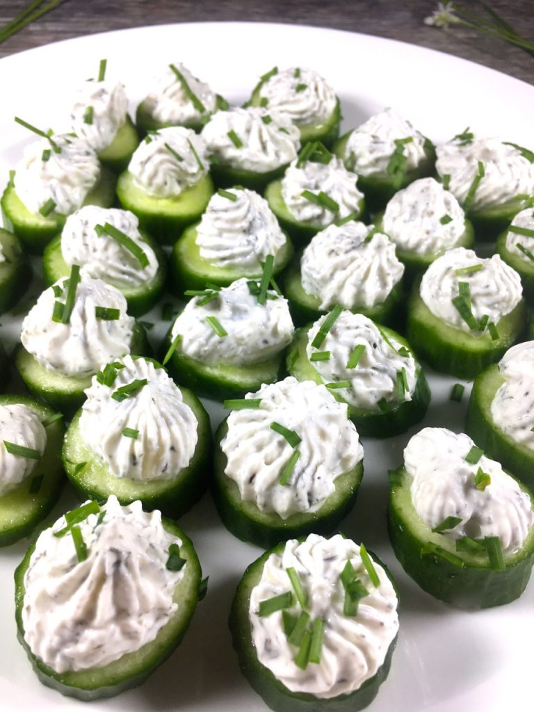 Ranch cucumber bites made with Trader Joe's goat milk cream cheese, Ranch seasoning, goat milk yogurt and Persian cucumbers.