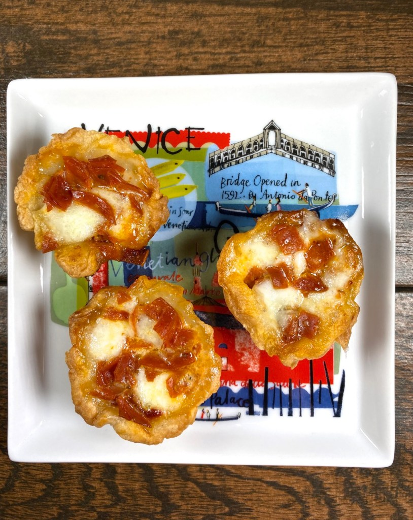 pepperoni pizza bites with  gluten-free puff pastry