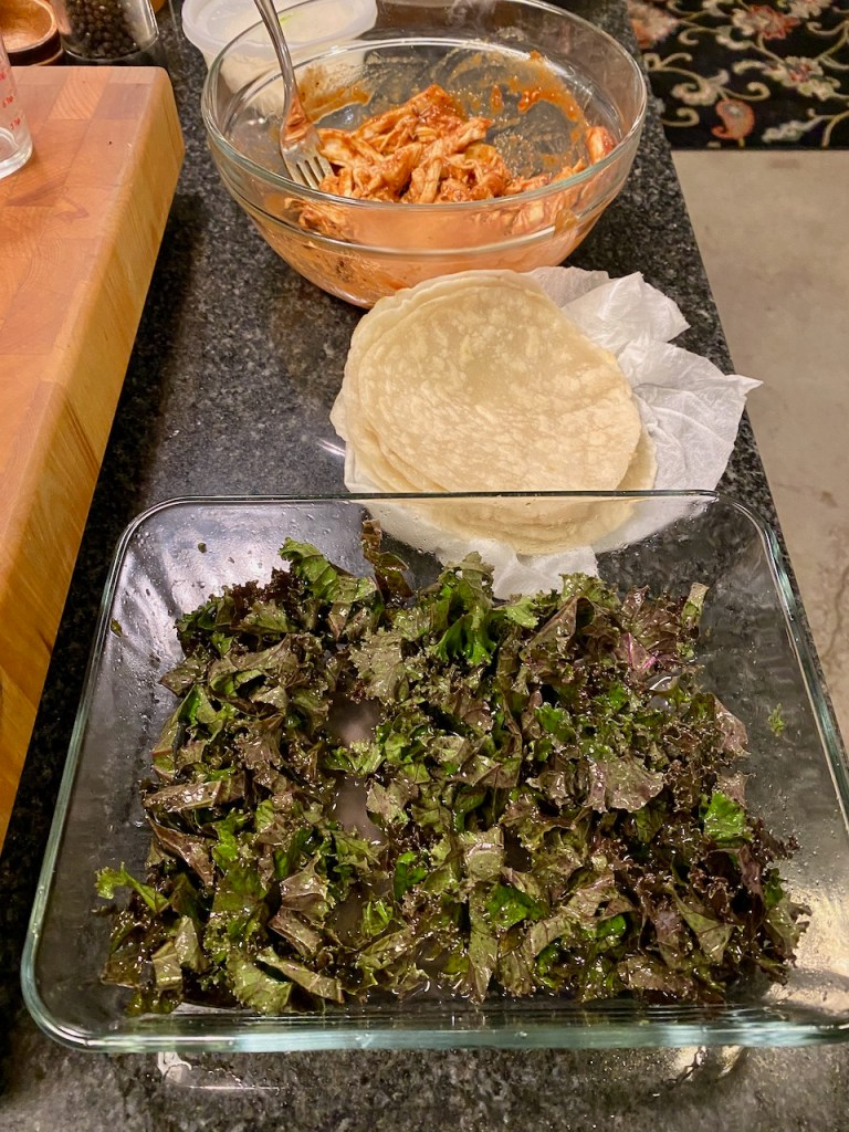 Line Up for BBQ Tacos with homemade flour tortillas and kale coleslaw