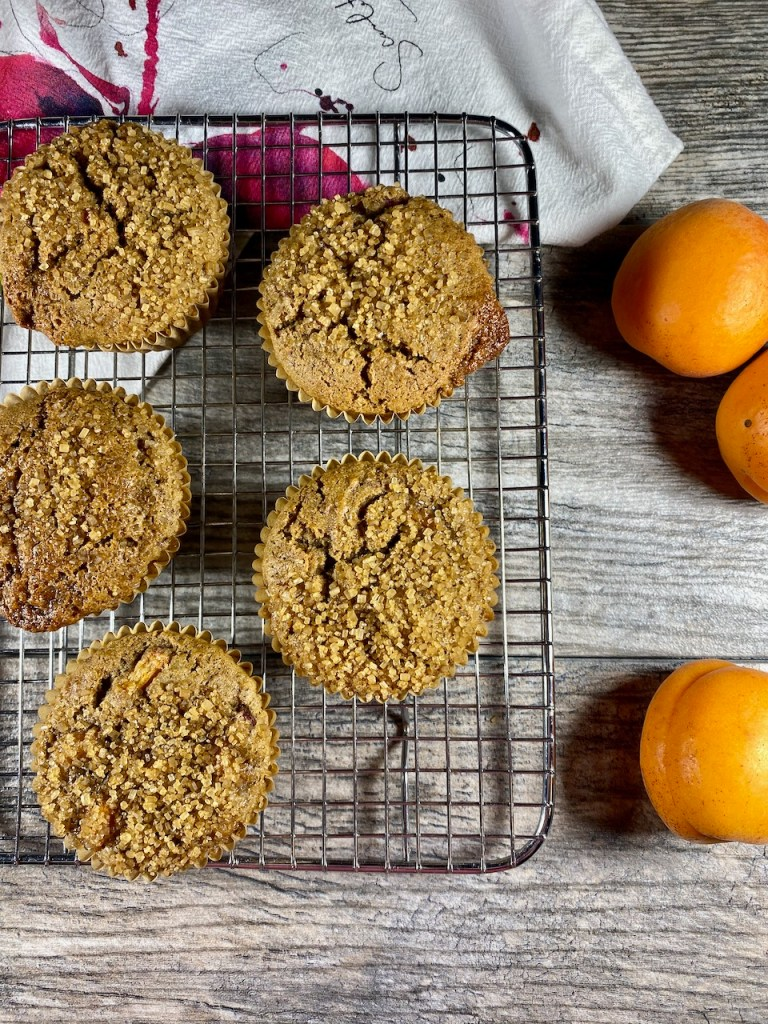 healthy gluten-free and dairy-free apricot raspberry muffins are made with coconut sugar, olive oil, sweet white sorghum and millet flour
