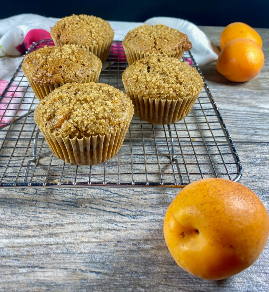 closer view of apricot raspberry muffins are made with coconut sugar, olive oil, sweet white sorghum and millet flour