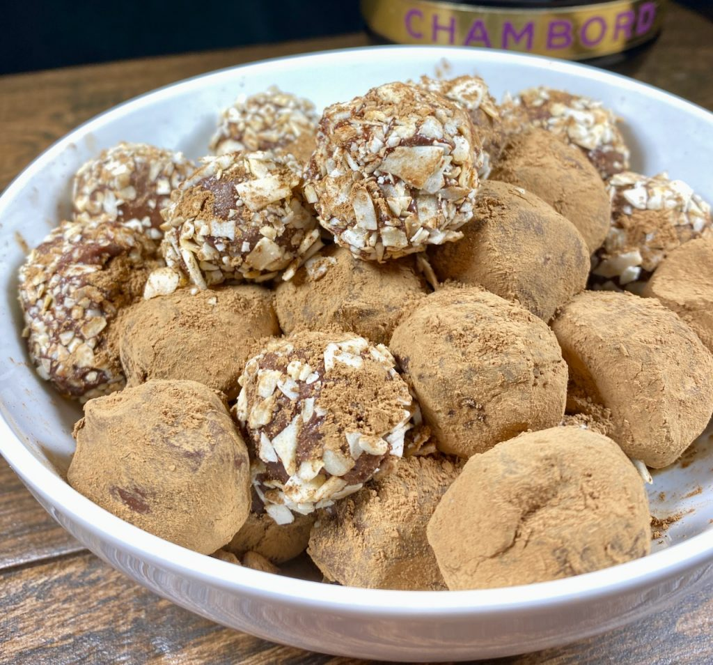 Chambord Dark Chocolate Truffles alternatively covered in dark cocoa powder and toasted coconut