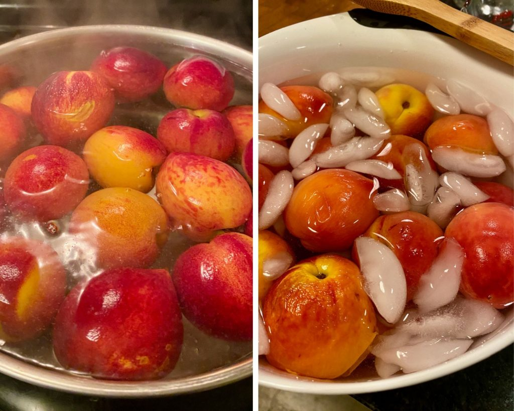 Boil the Texas fresh peaches and then freeze them to peel off the skin
