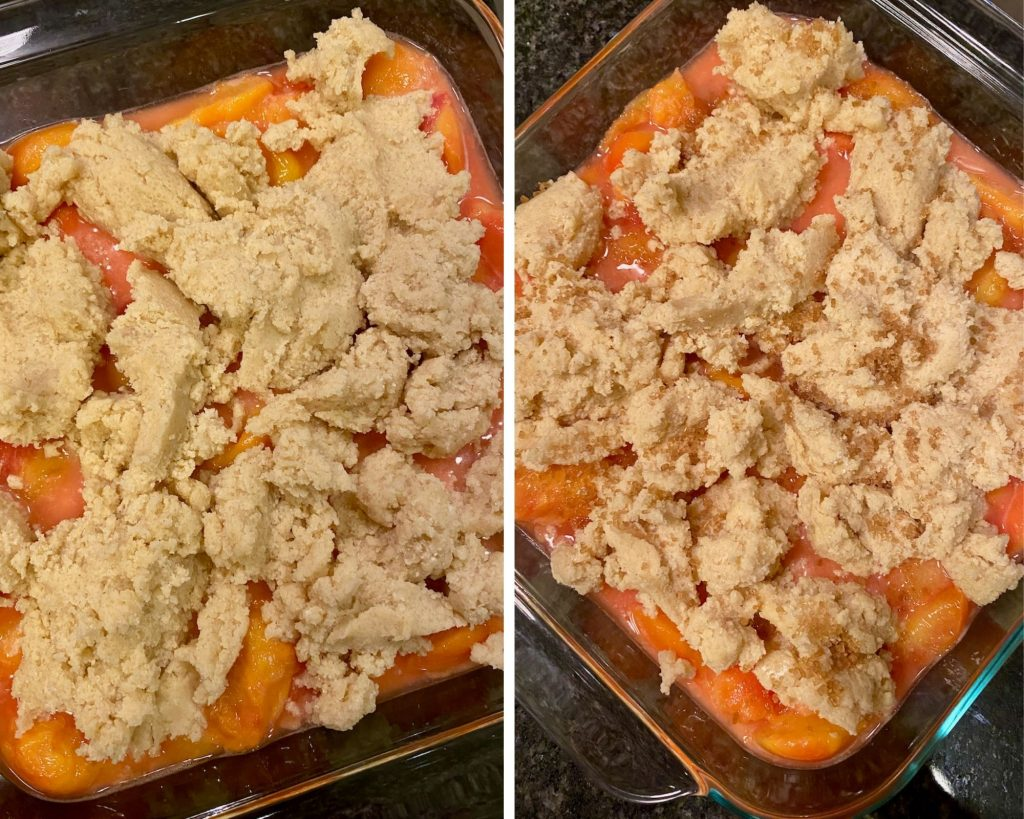 Make the cobbler and add it to the peaches then throw a little turbinado sugar on top