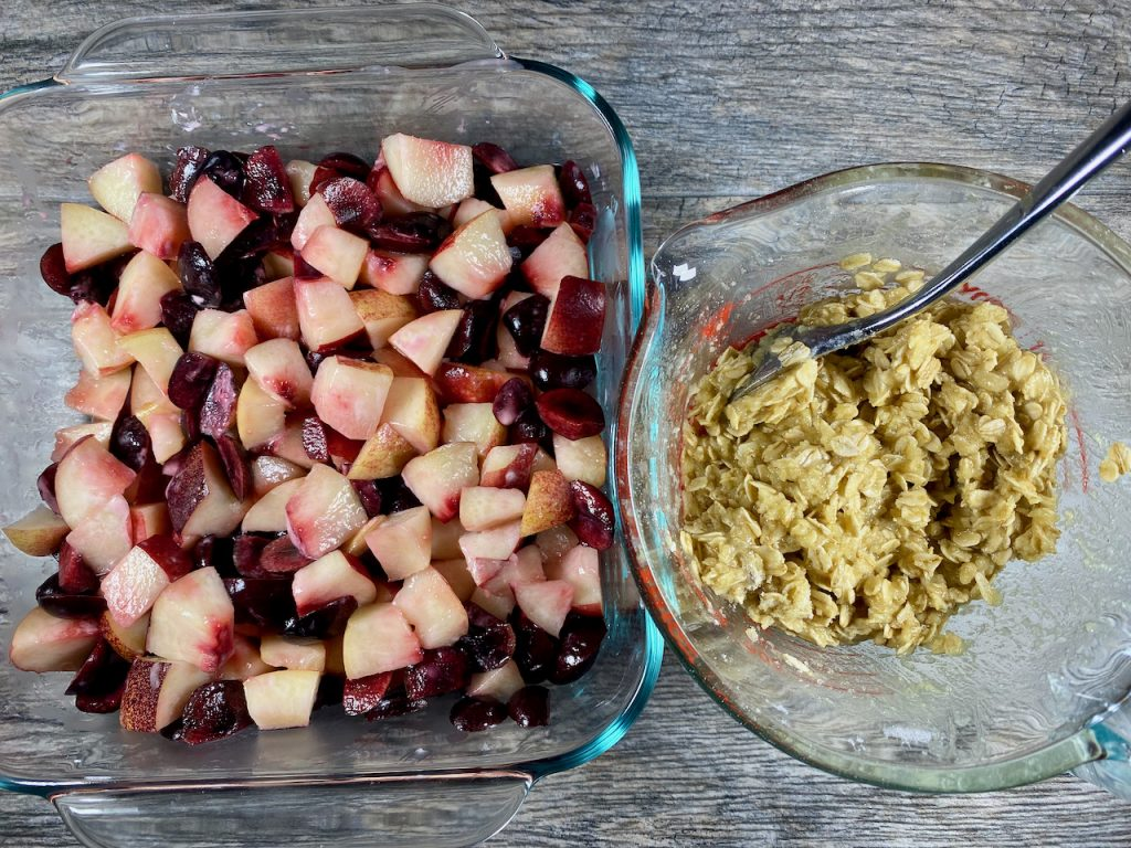 Cherry Nectarine Fruit and Gluten-Free Crumble Topping