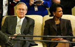 A Picture Is Worth a Thousand Words: Rumsfeld and Condoleezza Rice had a cold and tenuous relationship during their time office together. This (lack of) relationship would cause serious problems for the formulation of viable war plans during the Iraq War.