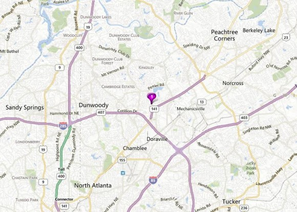 Map Location Of Dunwoody North Subdivision