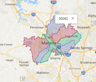 Marietta Georgia 30062 Area Map