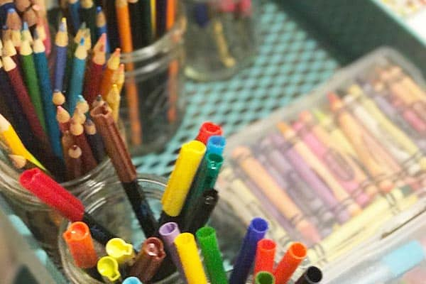 photo of crayons and markers organized neatly