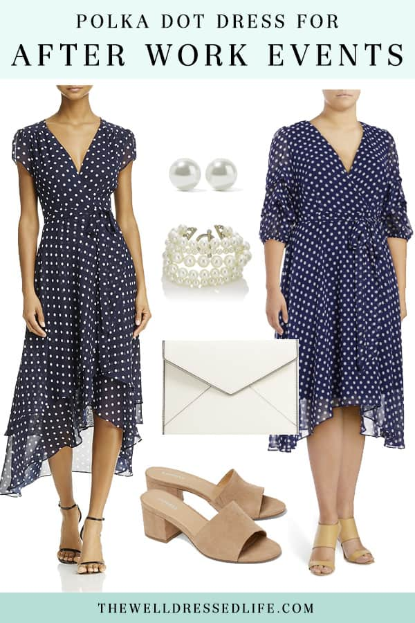 Polka Dot Wrap Dress for After Work Events