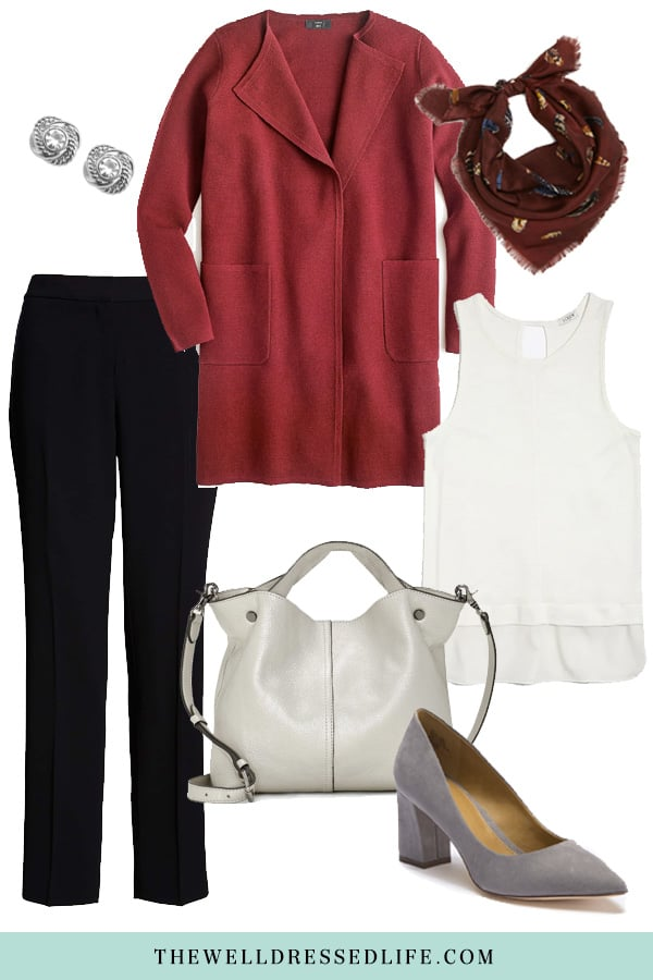 Wear to Work: Burgundy Sweater Blazer - The Well Dressed Life
