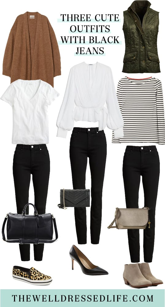 Three Cute Outfits with Black Jeans