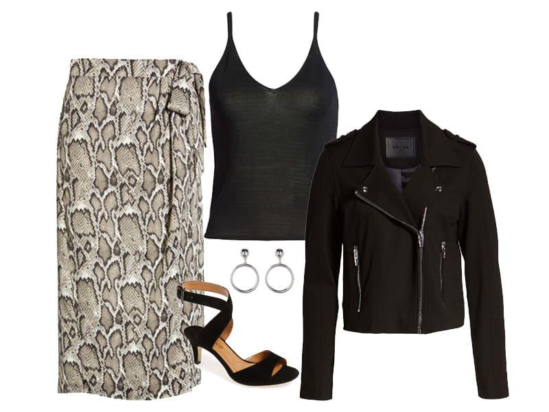 Wear to Work: Snakeskin skirt two ways