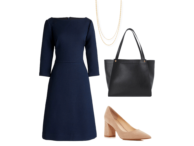 Outfit from The Well Dressed Life's Spring 2020 Capsule collection featuring a dress, necklace, bag, and heels.