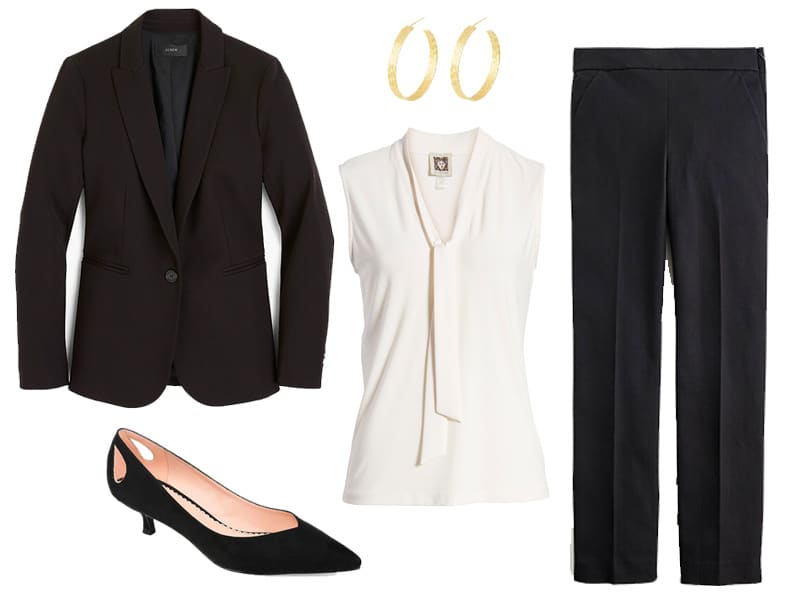 Outfit from The Well Dressed Life's Spring 2020 Capsule collection featuring a black suit, white top, black heels, and gold hoops.