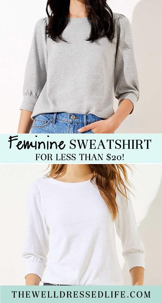 A Feminine Sweatshirt for Under $20