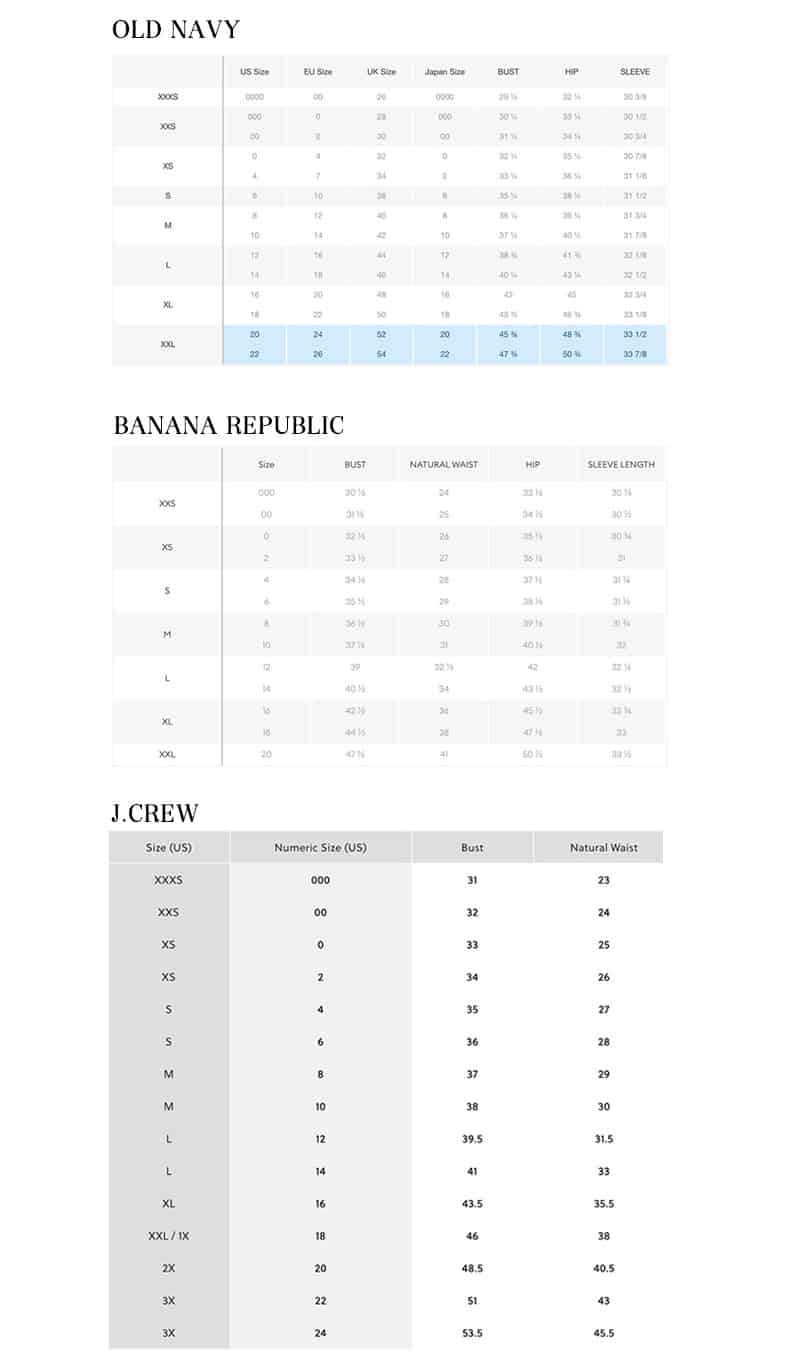 Size Charts for J.Crew, Banana Republic, and Old Navy