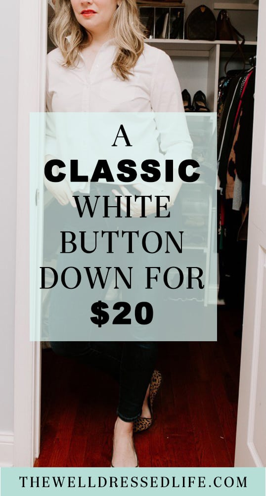 Classic White Button Down for $20