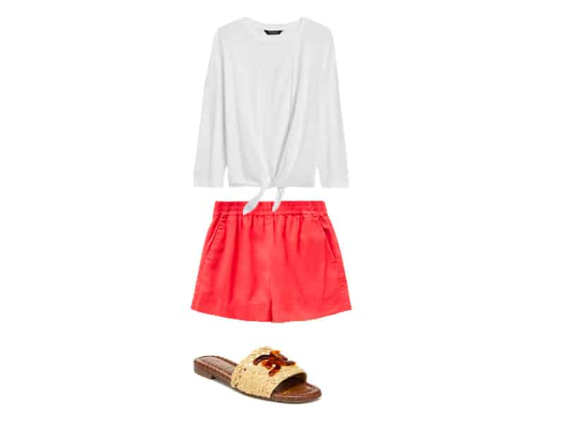 white tie blouse, red shorts, and natural woven sandals