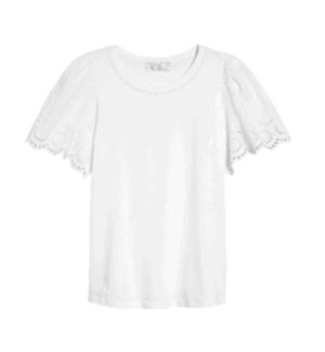 Eyelet Flutter Sleeve T-Shirt RACHEL PARCELL