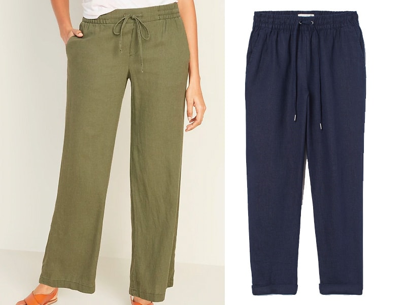 olive green and navy linen pants