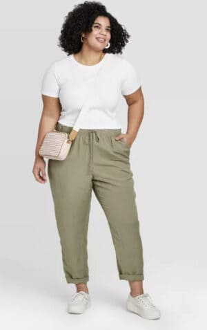 Women's Plus Size Skinny Ankle Linen Pants – A New Day™