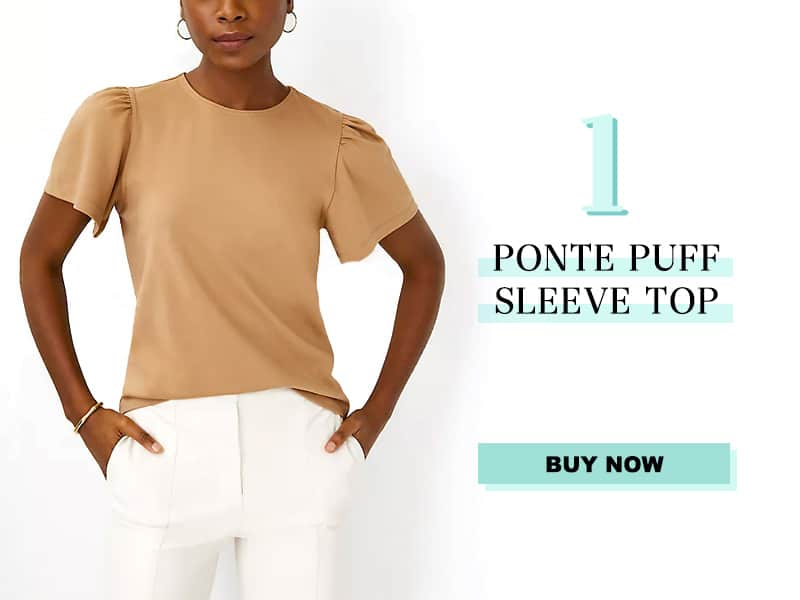 Ann Taylor Puff Sleeve Top