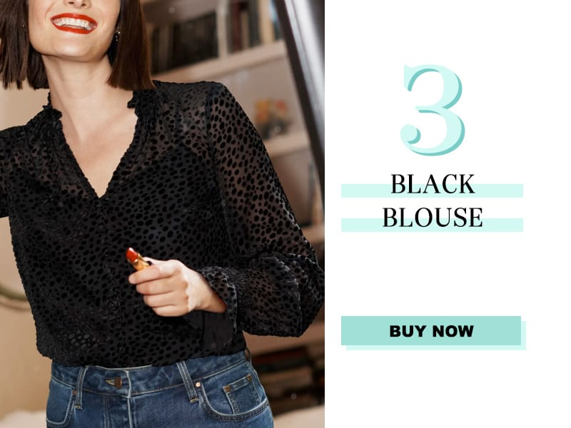Boden Black Sheer Blouse