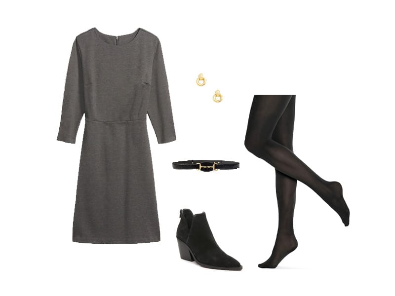 Gray Dress with black tights, black booties, black and gold belt, and gold earrings.