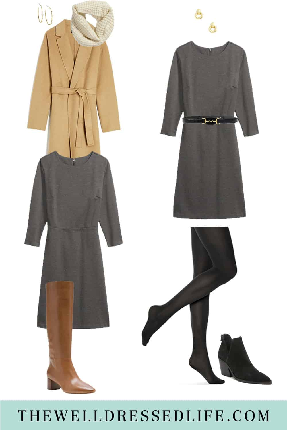 How to Wear a Simple Grey Dress Two Chic Ways