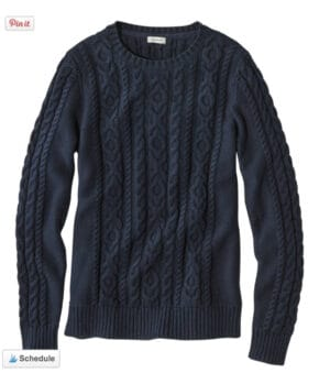 LL Bean Cable-Knit Crew