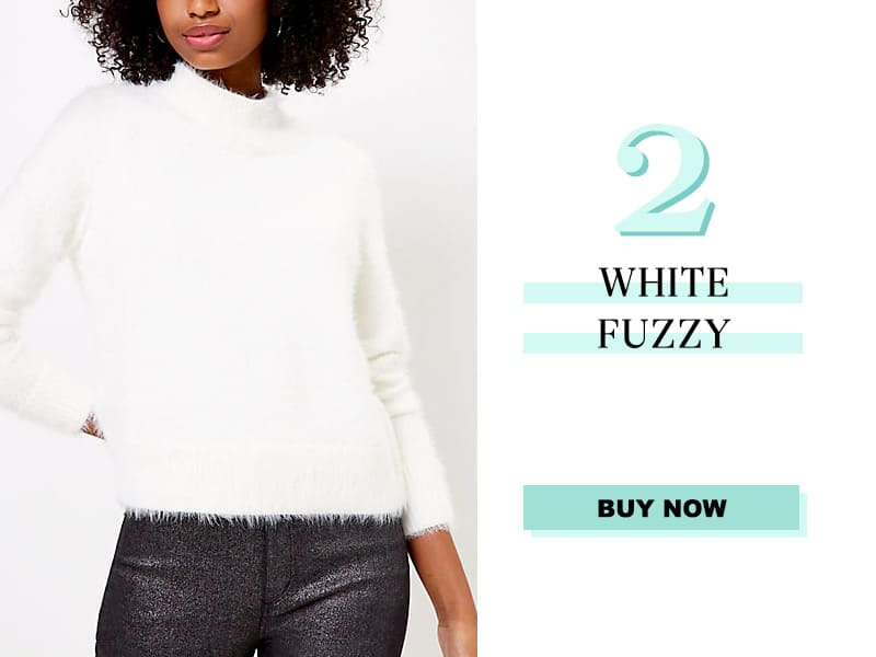 White Fuzzy Sweater from LOFT