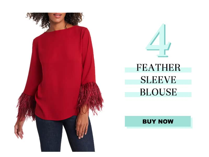 Red Feather Sleeve Blouse