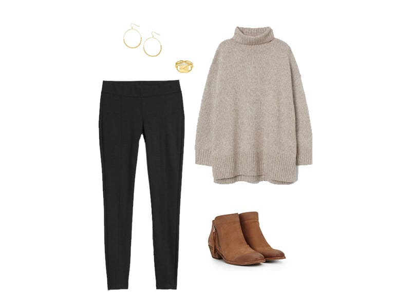 Black leggings with a tan turtleneck sweater, brown booties, gold hoops, and a gold ring.