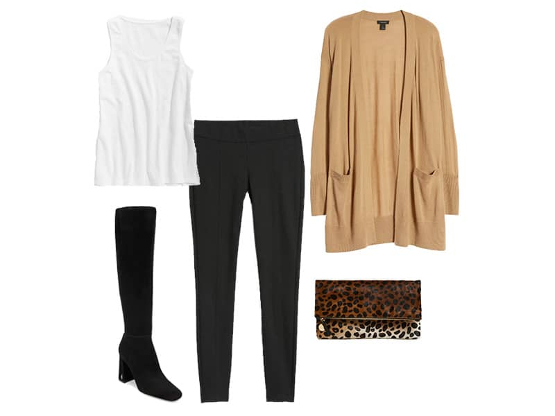 black leggings with a tan cardigan, white tank, black knee-high boots, and a leopard clutch