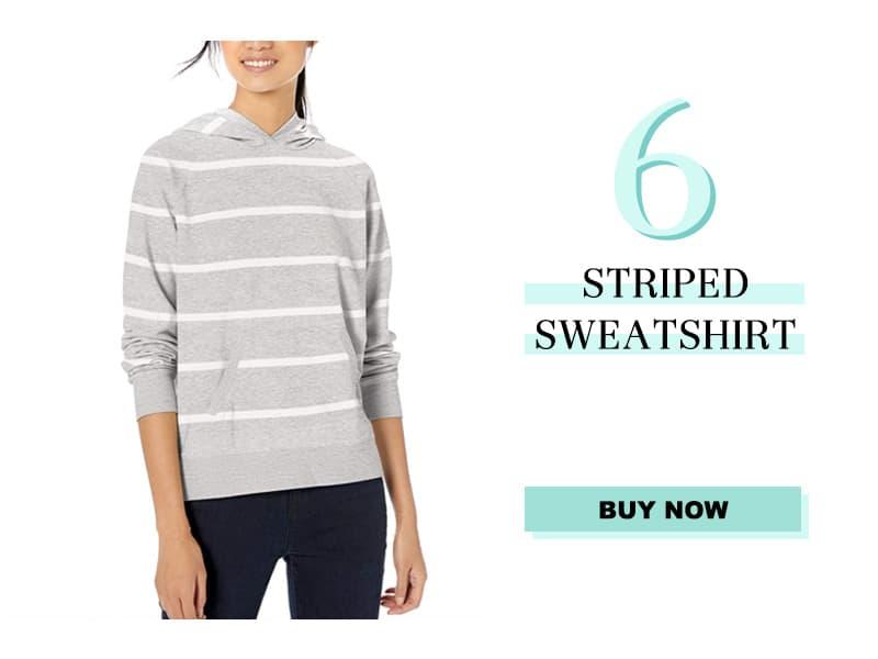Gray Striped Hooded Sweatshirt