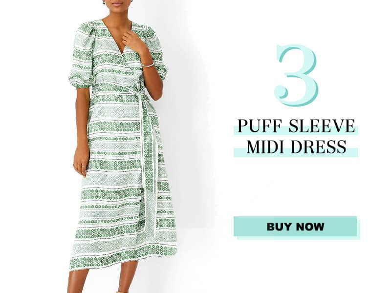 Ann Taylor Puff Sleeve Midi Dress
