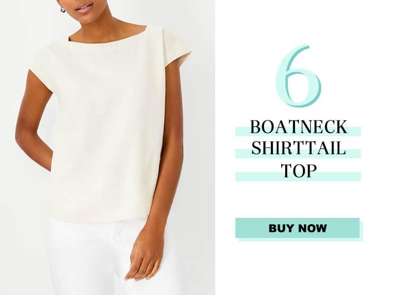 Ann Taylor Boatneck Shirttail Top