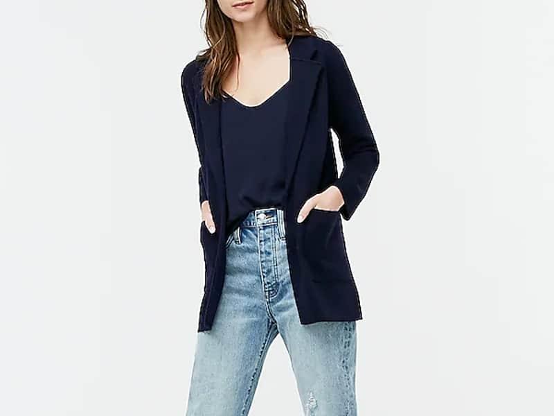 J.Crew Sophie open-front sweater-blazer