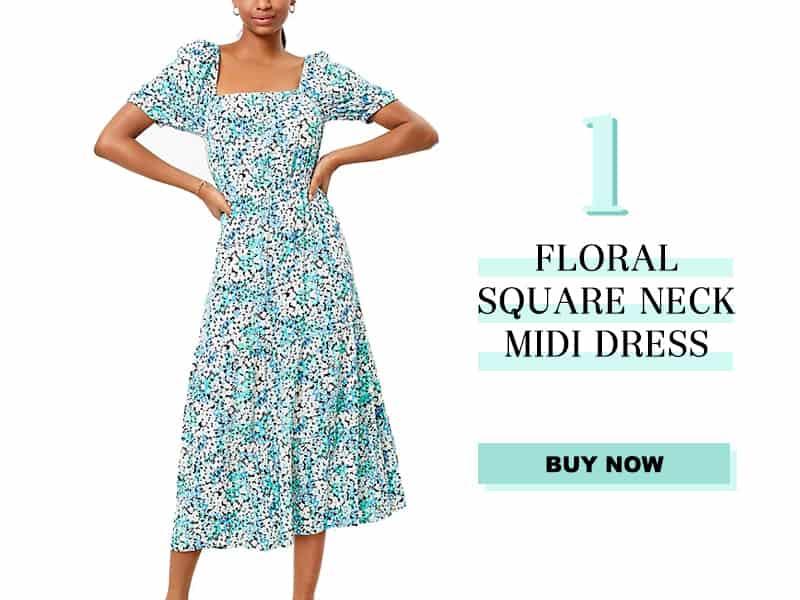LOFT floral midi dress