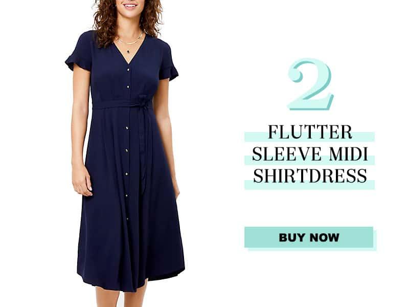 LOFT Flutter sleeve midi shirtdress