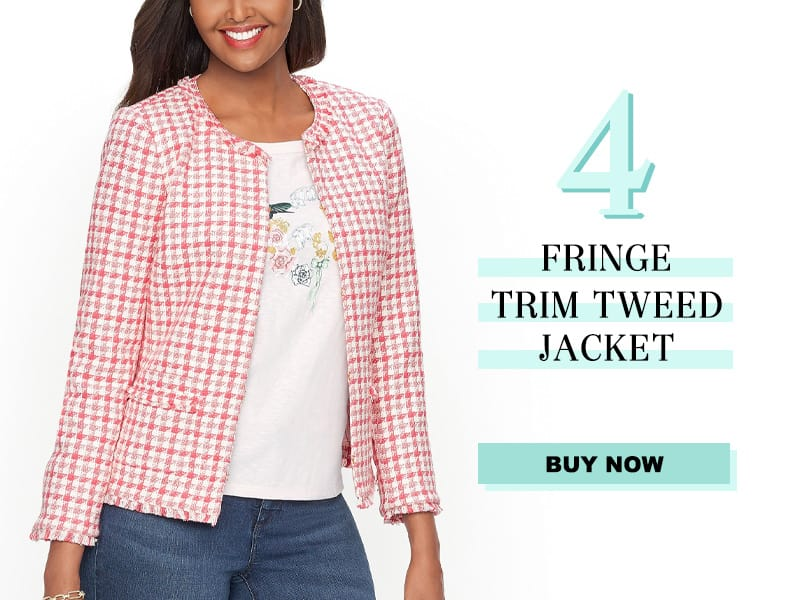 Talbots Fringe Trim Tweed Jacket