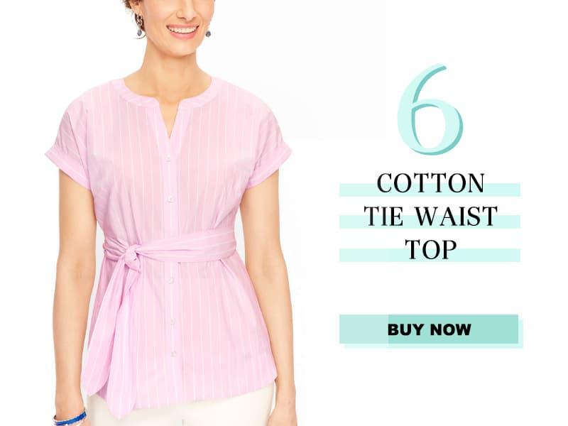 Talbots Cotton Tie Waist Top