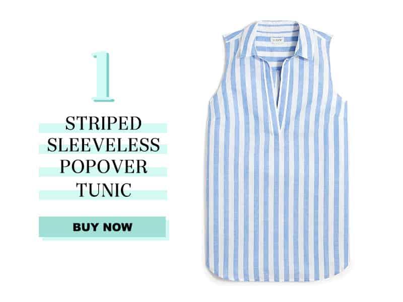 J.Crew Factory Striped linen-cotton sleeveless popover tunic