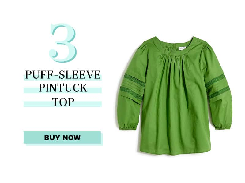 J.Crew Factory Puff-Sleeve Pintuck Top