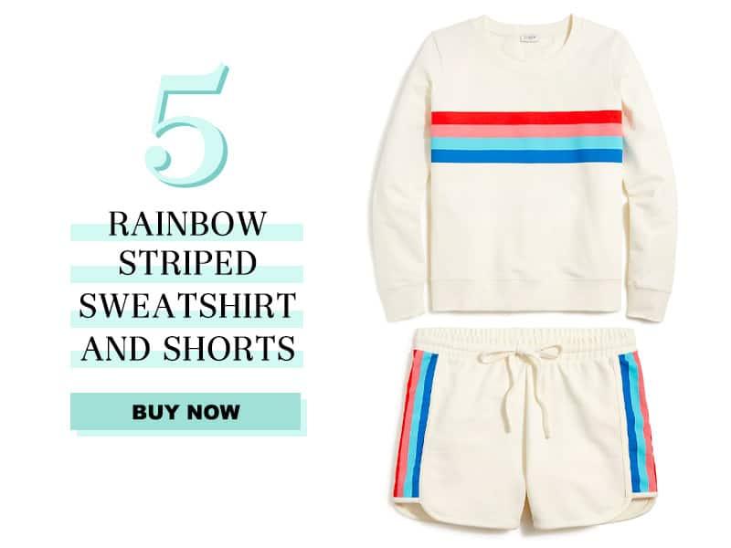 J.Crew Rainbow Striped Sweatshirt and Shorts