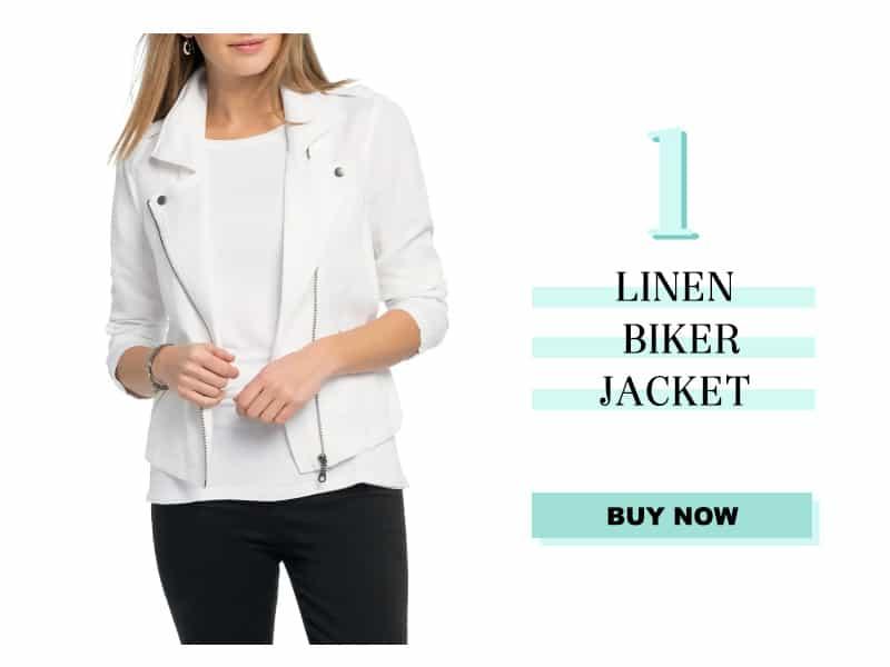 Nic+Zoe linen biker jacket