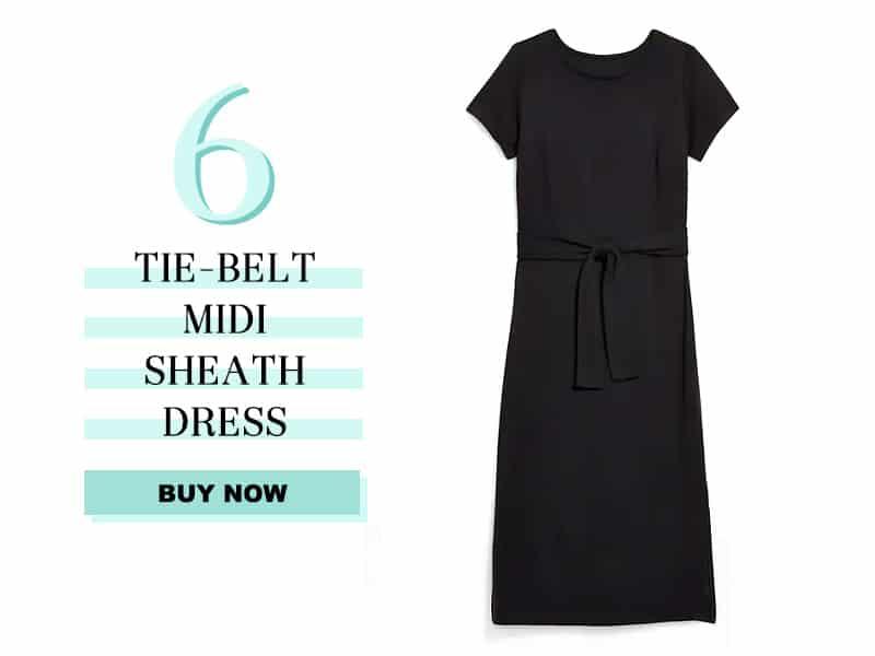 Old Navy tie belt midi sheath dress